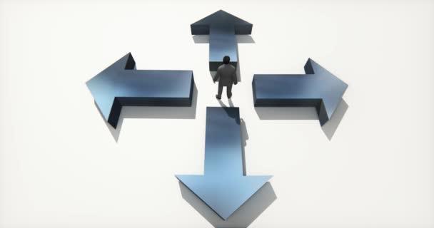 4 k podnikání lidé stojící na střed čtyři šipky, vyberte směr.