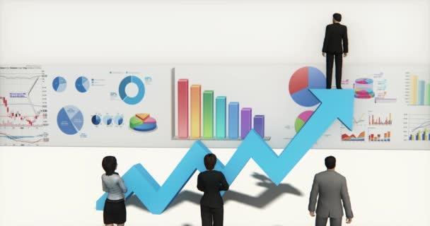 4k Geschäftsmann steht an der Spitze der positiven Trend Pfeil, Finanzen Kuchendiagramme.