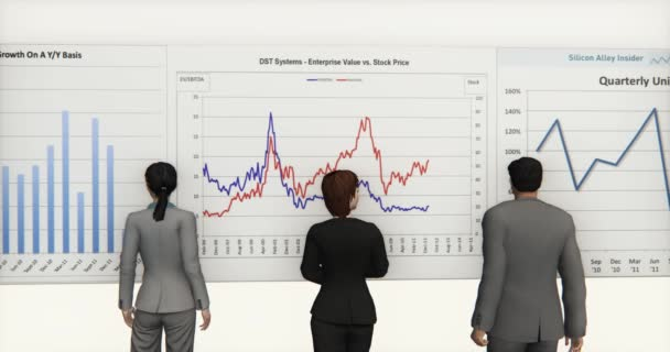 4k business team analyze finance pie charts  stock trend diagrams.