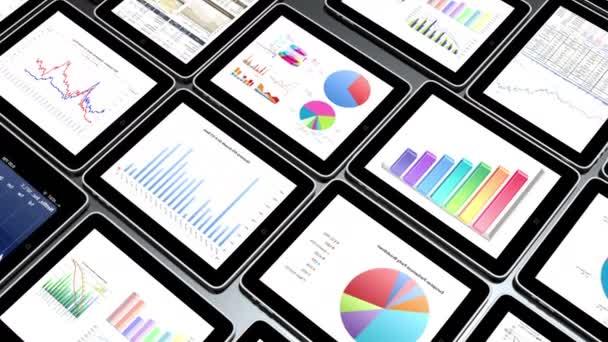 4 k mobilní zařízení, finanční výsečové grafy  UK trend diagramy v iPadu.