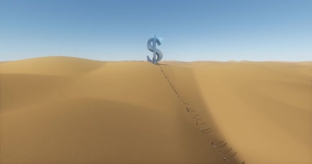 4k a group of business people walking to the large dollars symbol on the desert.