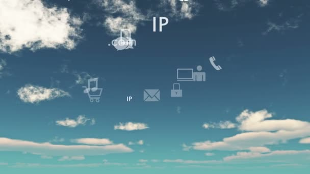4k,Cloud Computing Connection Concepts,timelapse cloud background,virtual internet concept,on-line services and social media icons floating up.