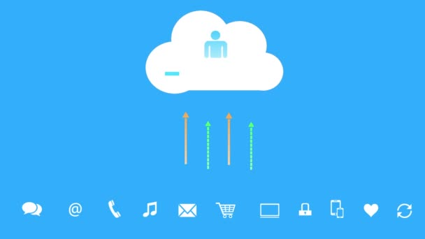 4k, frissítse az informatív felhő, feltöltése és letöltése folyamatban, web tech háttér.