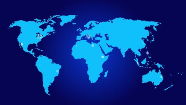 4 připojení k svět s řádky cestou, země globe.growing globální síť s komunikací po celém world.world mapa.