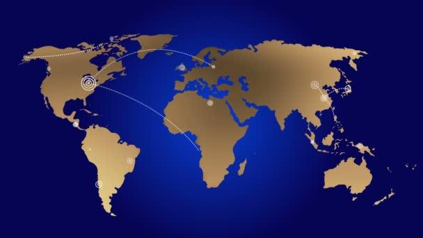 4k Weltverbindungen mit Leitungen Pfad, Erde globe.growing globales Netzwerk mit Kommunikation auf der ganzen Welt.Weltkarte.
