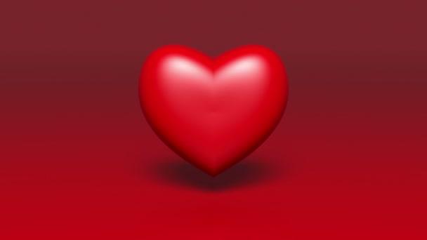 4k red 3d Heart beat.