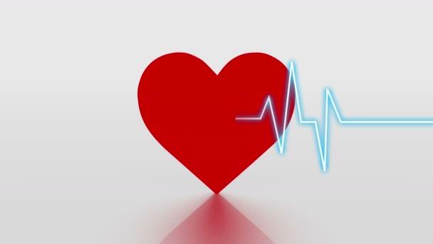 4 k srdeční tep kardiogram s pozadím červené srdce, srdeční monitor Ekg elektrokardiogramu puls.