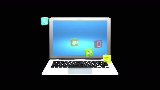 4k, virtuální internetové koncepce symbol plovoucí s notebookem pozadí, služby na linky miniaplikace ikony diskuse, sociální média, email, e-shop, výpočetní technika, hudba, smartphone, graf, zámek