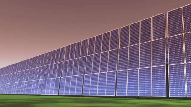 4k Solar panels at sunset,green free clear energy.
