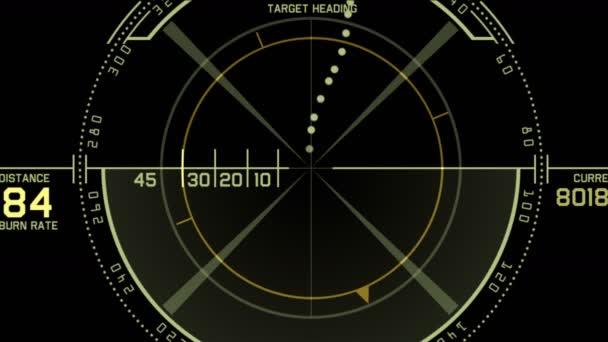 4 k Radar Gps jel tech képernyő bemutatás, jövőbeni tudományos sci-fi adatok számítógépes játék navigációs műszerfal technológia felület háttér.