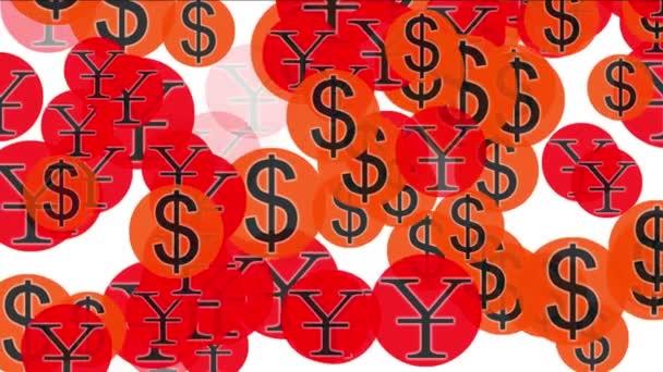 4k Float USA dollars China RMB money wealth symbol,exchange rate background.