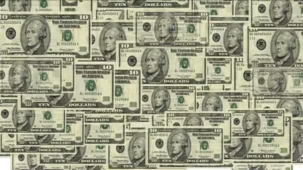 4k Float 10 dollars money wealth background.