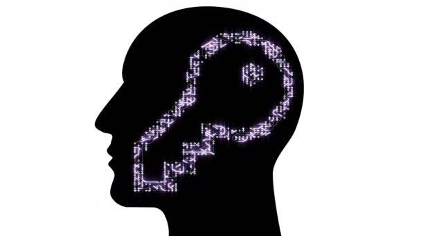 4k Circuit board electron key AI human brain,think science solution inspiration
