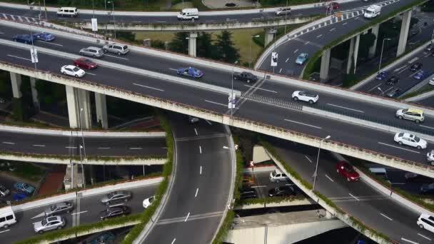 Letecký pohled na rušné město špičce rušné jam dálnici, Šanghaj Yanan východ silniční nadjezd mezibankovní.