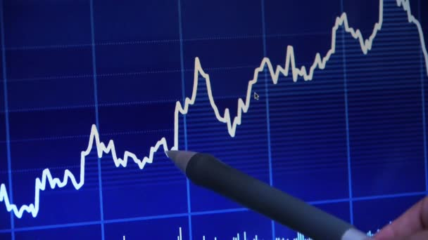 Businessman use pen touch Stock Market Graph on computer screen.