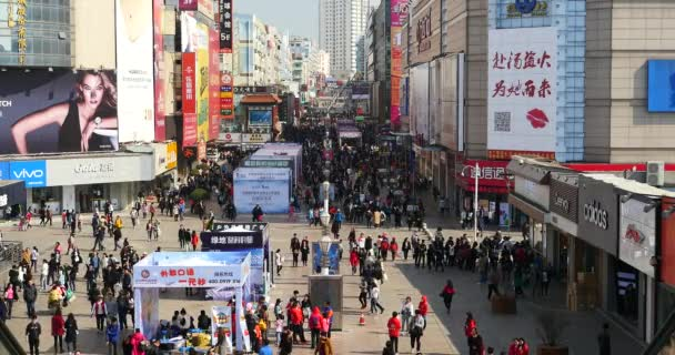 4k Huge Crowd Of People walking on china business street,QingDao,China.