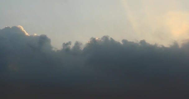 4k Panoramic of dark altocumulus clouds smoke slowly flying in cloudy sky.