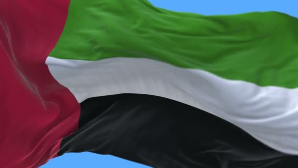 4k Close up of United Arab Emirates flag slow waving in wind.alpha channel.