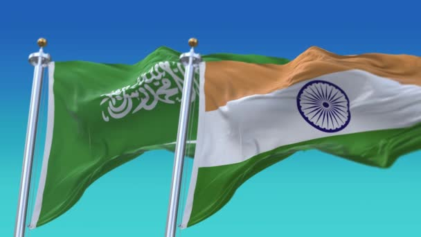 4k Seamless India and Saudi Arabia Flags with blue sky background,JP,IND.
