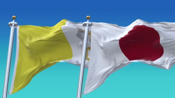 4k Seamless Japan and Vatican Flags with blue sky background,JP.