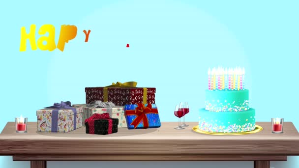 Happy Birthday, funny multicolored 3D animation in 4K with gifts, balloons and candles