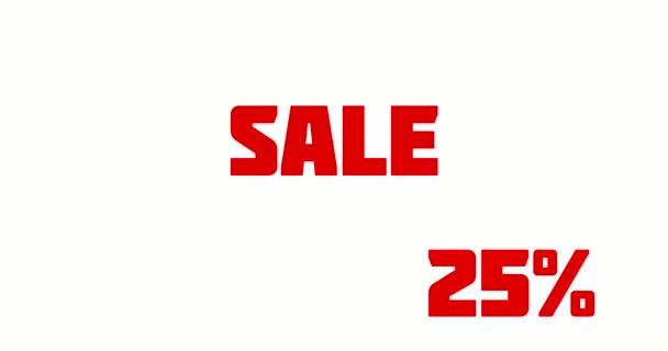 30% und 25% Rabatt auf Werbebanner Sonderangebot. Verkaufsförderung Animationsvideo mit der Inschrift Verkauf. Rabattankündigung, Zeichentricktextverkauf, 25% und 30% für Shopping-Verkäufe und Promotions. weißer Hintergrund, Animationstext gestalten