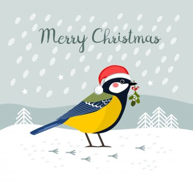 Great Tit with Santa Claus hat and winter background, Christmas greeting card, vector illustration