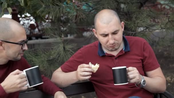 Dva plešatí muži jsou sedí v parku a jíst sendviče a hranolky, pití kávy, mluvit. Výborné jídlo, oběd