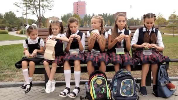 Děti ve školní uniformě v parku na oběd jíst sendviče. Škola, jídlo, odpočinek