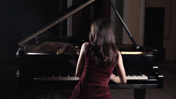 Closeup of beautiful woman playing the piano from the back view