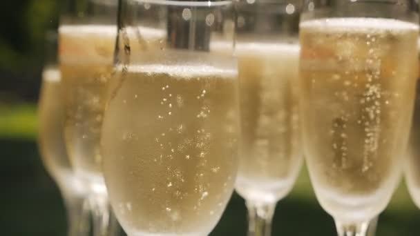 Pohár pezsgő és buborékok állva egy fehér asztalon, a természet hátterére