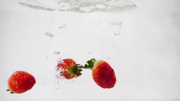 Jahody se dostanou do vody s bublinkami. Video o izolované bílém pozadí ve zpomaleném záběru