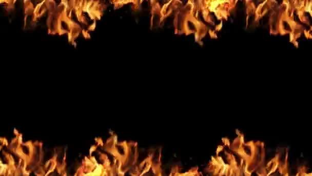 Rahmen aus Feuer von oben und unten, klare Mitte für das Text-Loop-Video