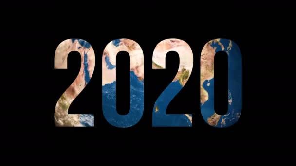 Text 2020 dreht Erdkugel