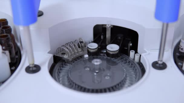 Close up medical automatic robotic analyzer of human biological material