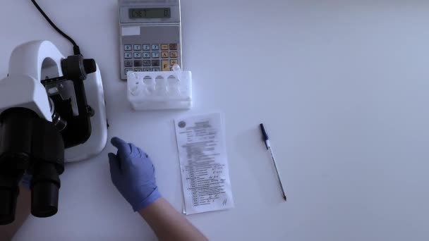 Top view of laboratory desktop of a medical clinic researcher