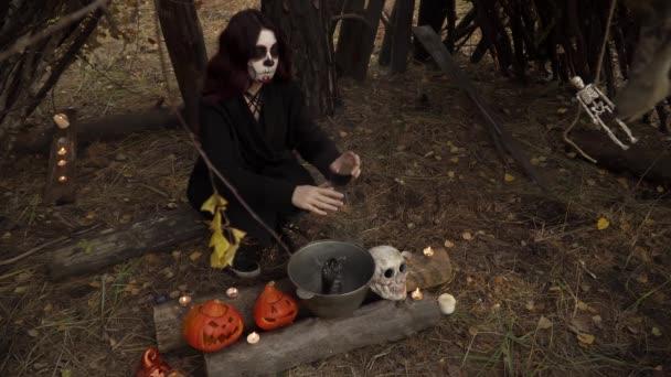 Hexenverfolgung über einem rauchenden Hexenkessel in einer Waldhütte