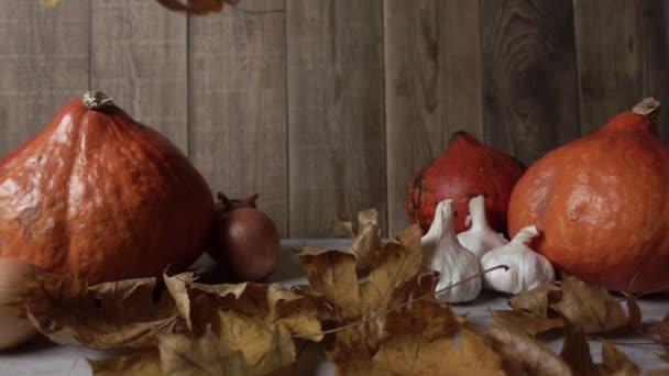 Suché listy padají na dřevěný stůl s dýněmi a česnekem ve zpomaleném filmu