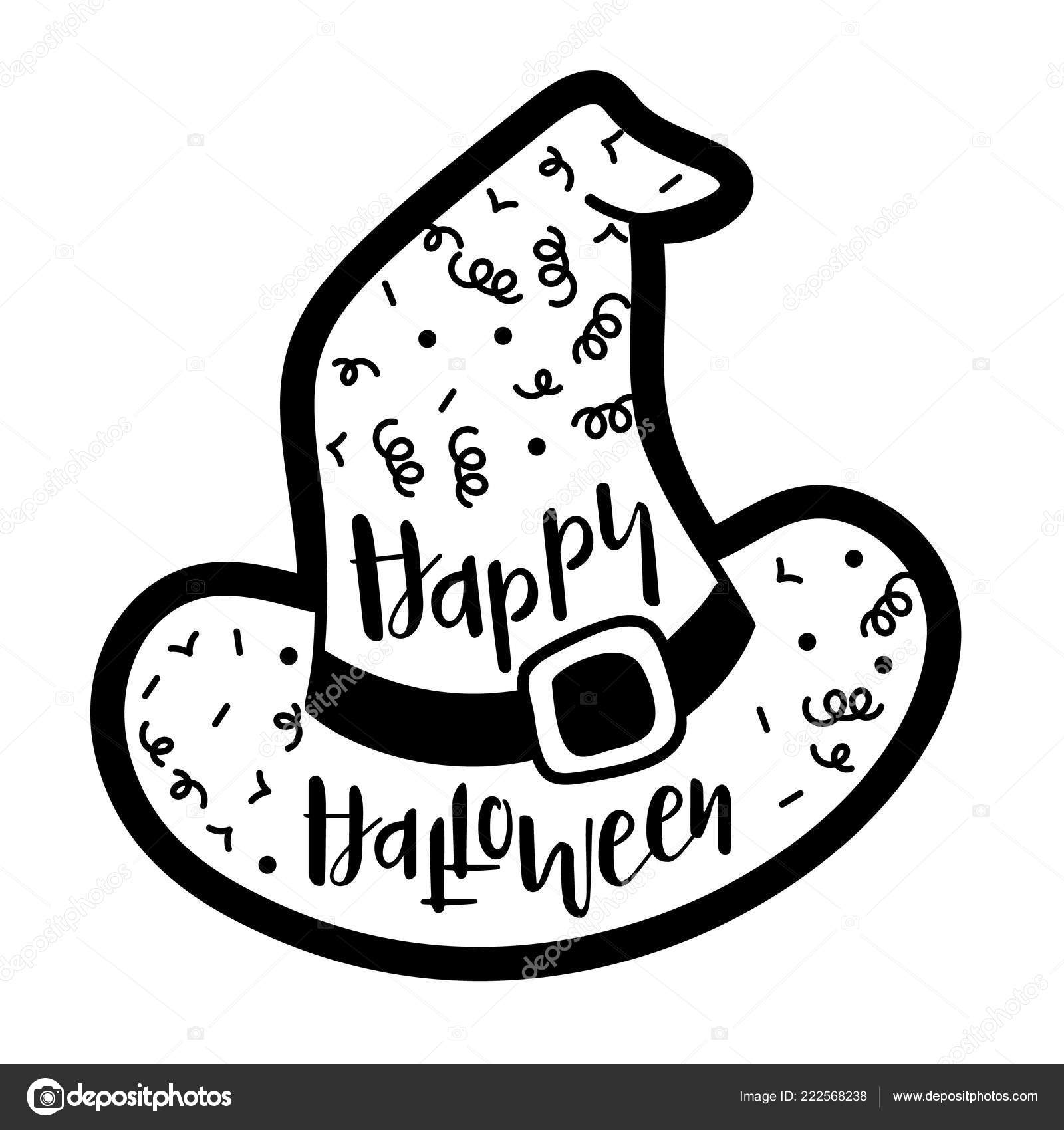 Hexe Hut Vorlage Sagen Happy Halloween Stockvektor Levinanas