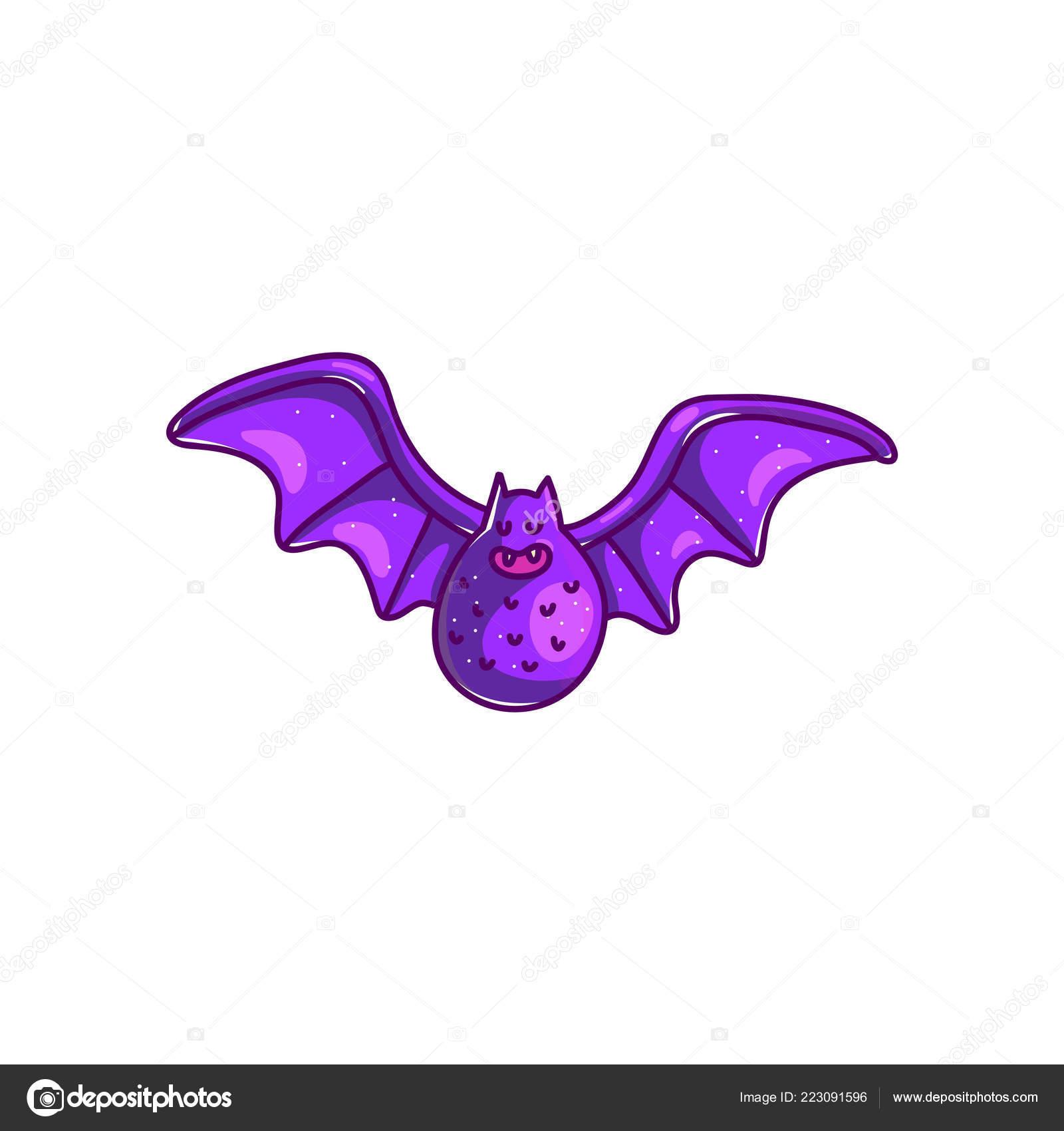 Vector Dibujos Animados Murciélago Con Las Alas Abiertas Color