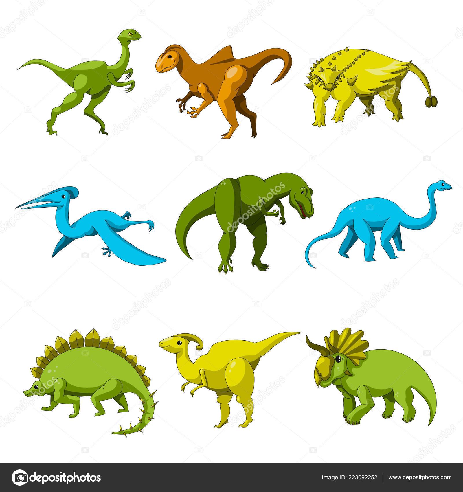 Conjunto ícones Dinossauro Dos Desenhos Animados Ilustração