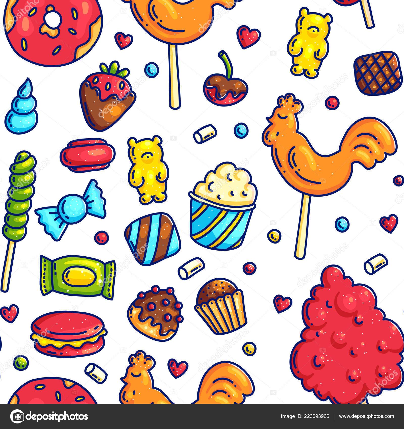カラフルな漫画落書きアウトラインして甘いお菓子 Seampless 柄包装紙