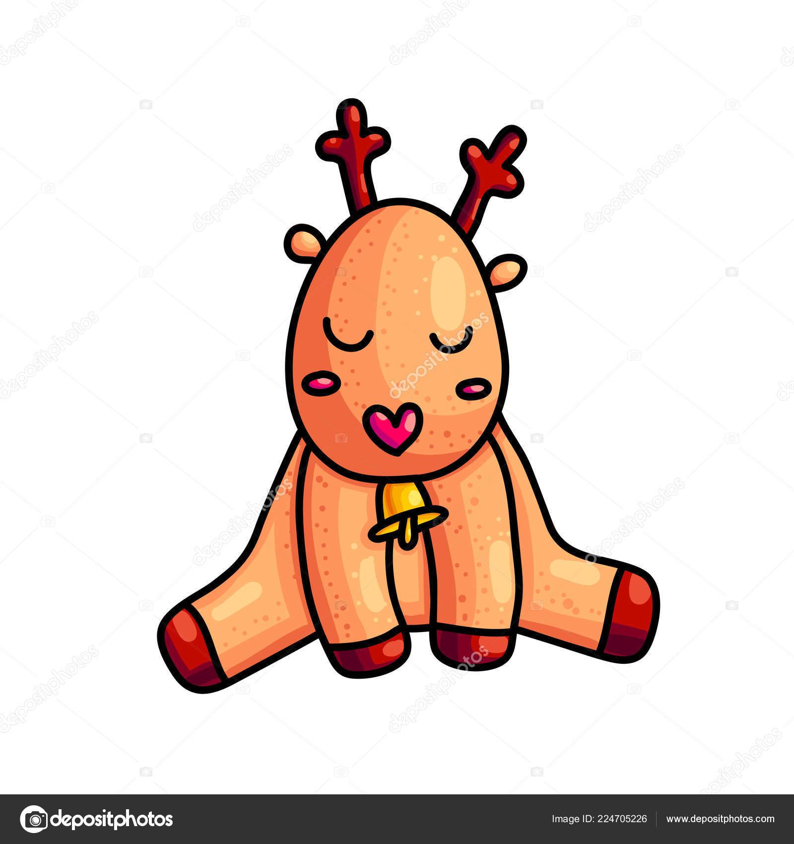 Cerf Noël Caractère Couleur Dessinés Main Dessin Animé