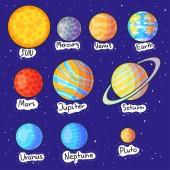 Vektorova Grafika Sada Planety Kreslene Karikatury Kolekce Planet