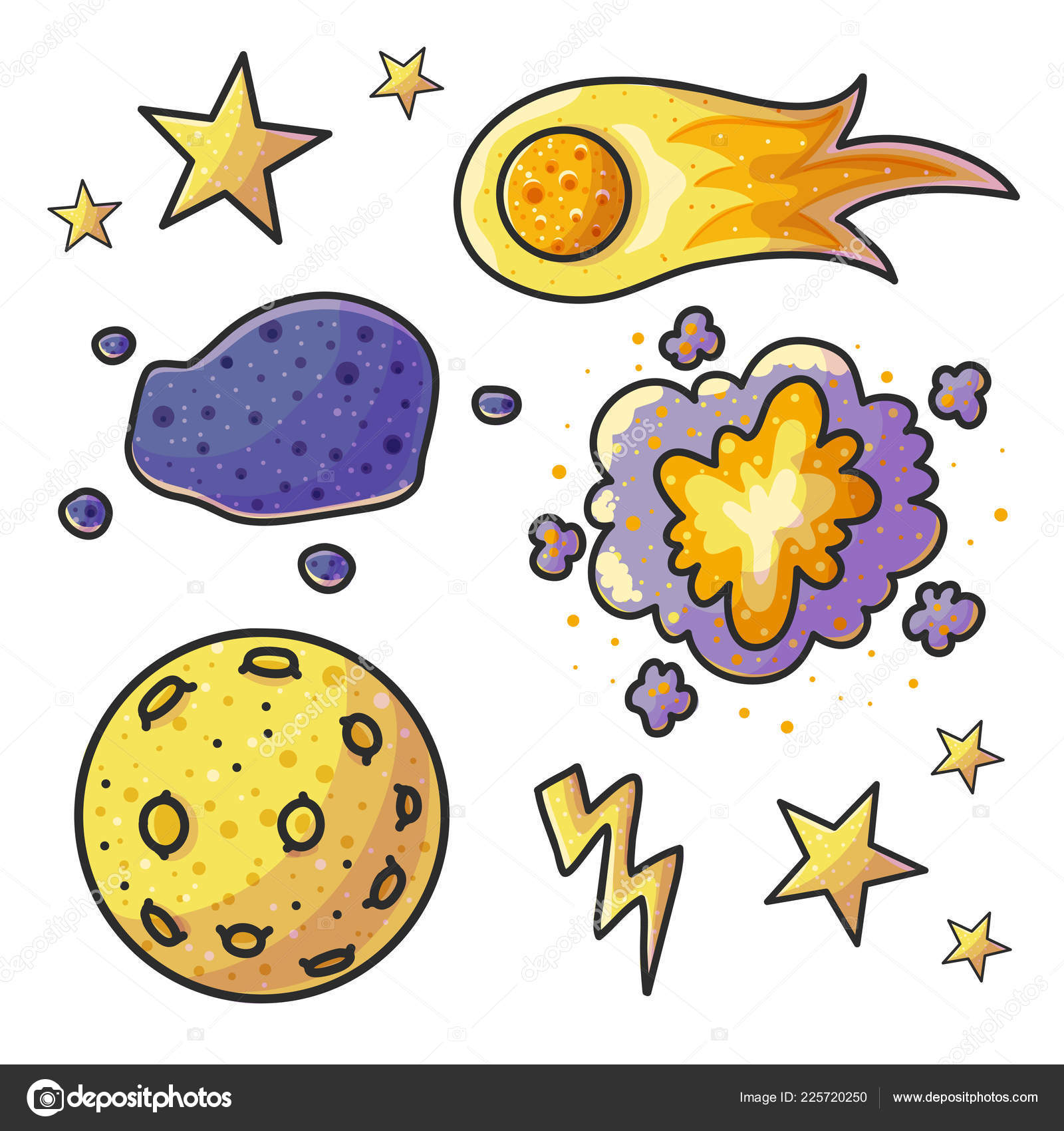 Space Hand Drawn Color Illustrations Set Doodle Astronomical