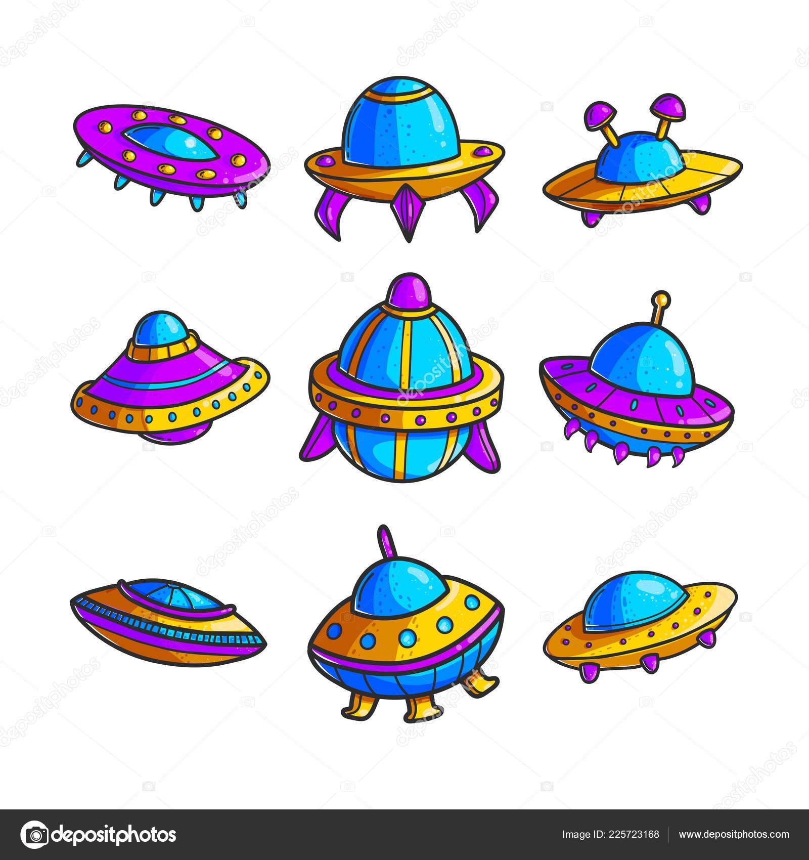 漫画空飛ぶ円盤は手描き下ろしカラー イラスト セットです かわいい Ufo
