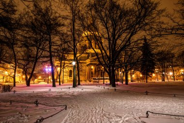 Saint- Petersburg, Russia, 23, December, 2017: Isakievsky Cathedral, winter evening