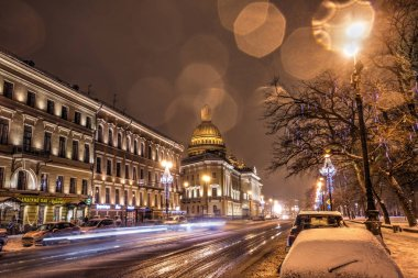 Saint- Petersburg, Russia, 23, December, 2017:Isakievsky Cathedral, evening view in winter day