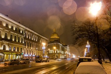 Saint- Petersburg, Russia, 23, December, 2017: Isakievsky Cathedral, evening view in winter day