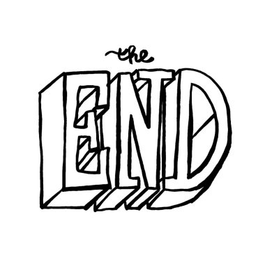 The End calligraphy in hand drawn style